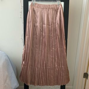 Nasty Gal pink shimmer pleated skirt
